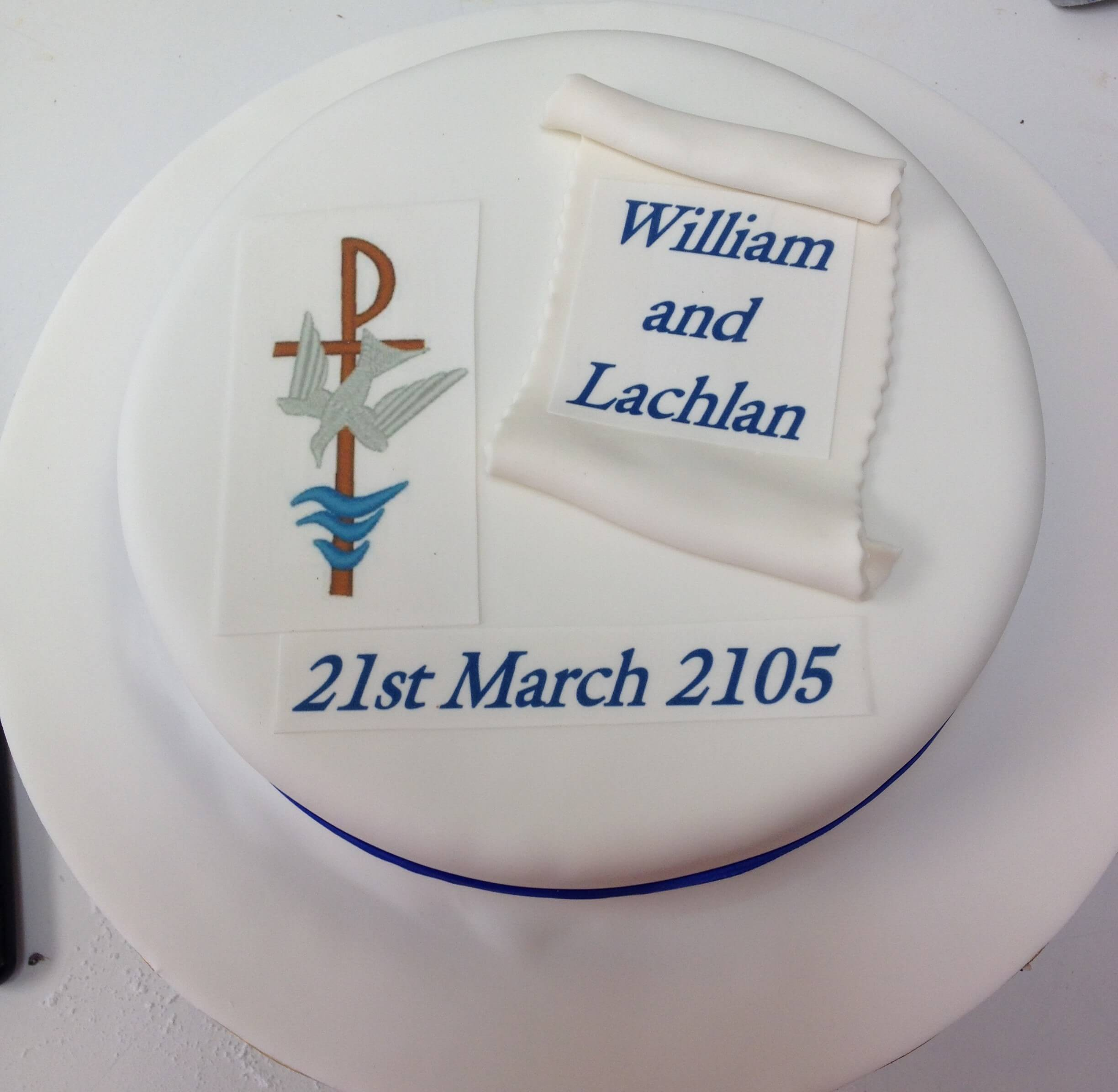 white and bule William and lachlan celebrations cake
